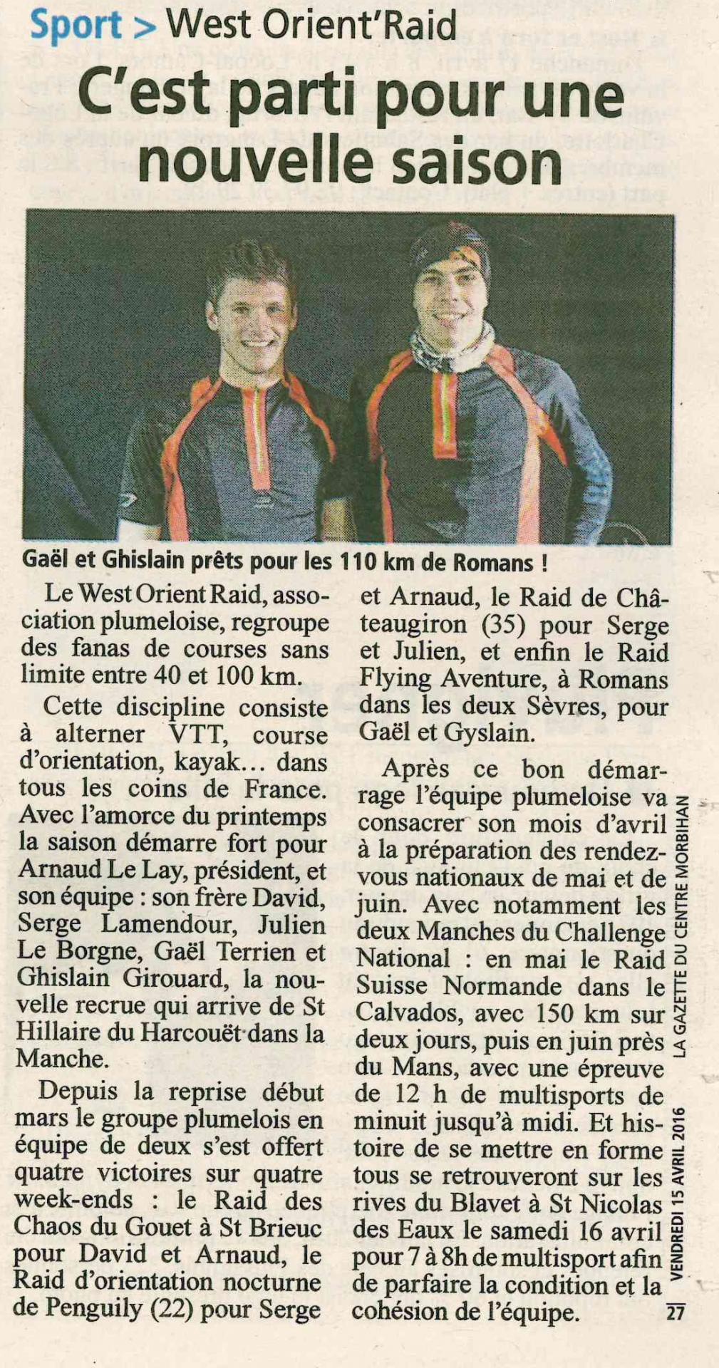 Gazette du morbihan 15 04 2016