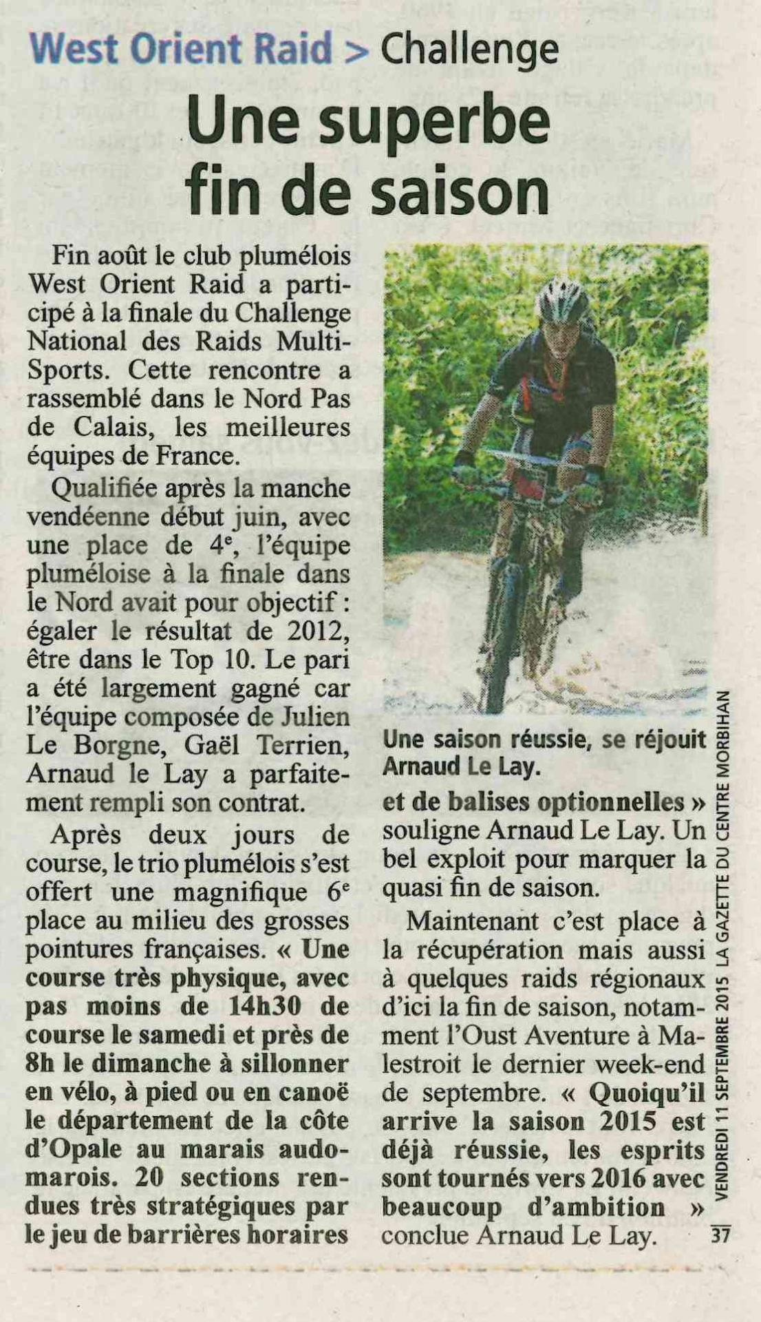 La gazette du morbihan 11 sept 2015
